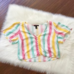 Forever 21 Rainbow Striped Top Size Large